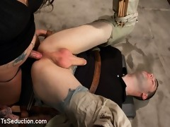 Another smoking hot new Ts model debuts in a tense interrogation scene where she cums TWICE on him and fucks him in tight, inescapable bondage.