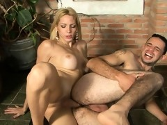 Blonde dick-girl lures an eager barman into butt play right on the floor