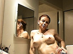 Naughty TMILF Jasmine posing, pissing & showering