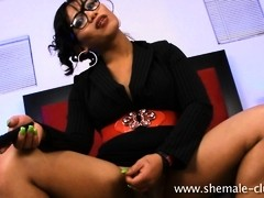 Lovely transsexual Pandora pleasuring herself
