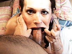 Dirty Nicole blowing a cock with 2 toys