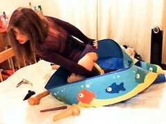 Kirsty gets fucking horny as she puts a banana deep in her ass after tasting it.