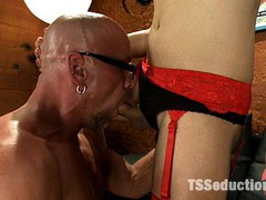 Annalise Rose fucks the crew on her movie set - spreading his ass cheeks with her cock, fucking his mouth and cumming on his dick.