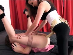 Strapon Jane plays with a naughty TGirl sluts cock before she fucks her nice and hard.