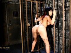 Filthy Adriana plays in the dungeon