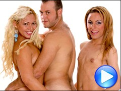 Horny guy's girlfriend brings her TS friend into the bedroom for some threesome   fun!