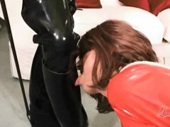 Luci loves to watch a horny TGirl dressed in PVC getting dominated by the master!
