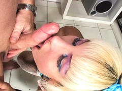 Sexy blonde shemale getting balled in hot POV action scene
