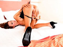 Horny shemale named Toon strokes her meat pole & shows ass