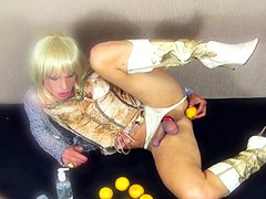 Kim tries filling her ass hole with fresh oranges, but soon finds the right toy to really satisfy herself