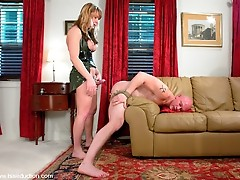 Ts Danielle Foxxx ass fucks her slave with her big shemale cock.