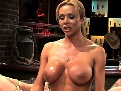 Beautiful She Male bartender ties up her straight customers