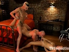Debut of Ts Fetish Diva, Danni Daniels in threesome with Chloe Camilla & Patrick Rouge. Danni cums TWICE, Patrick cums TWICE, Chloe gets fucked by
