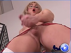 blonde tgirl seduces you with her strip tease and dildo play