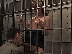 Straight man in jail forced to suck the TS guard 's huge cock.