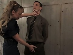 Straight man in jail forced to suck the TS guard 's huge cock