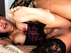 Beautiful tgirl Carmen having hardcore sex with Gabriel