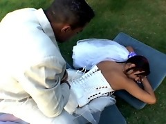 Voluptuous shemale bride and steamy fiance having wedding sex on the lawn