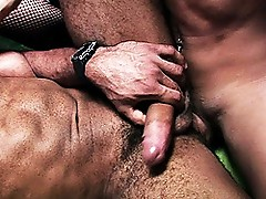 Two Hot Shemales Fucking Muscular Guy