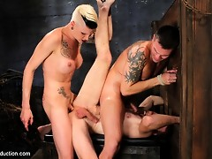 Ts Danni Daniels fucks two tied up guys at once, cumming on them TWICE, milking their cocks and making them press against each other as she fucks them