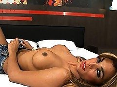 Hot TS Mariana fingering her ass and jerking her cock