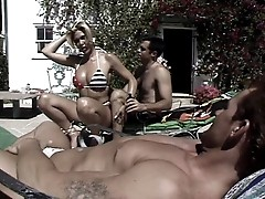 Horny Transsexual Enjoys Fucking With Two Hot Dudes Outdoors