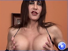 Mature Tgirl plays with her new double dong dildo