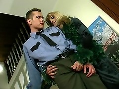 Hot policeman knows how to handle with his stiff rod meeting with sissy guy