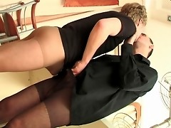 Well-hung guys in control top pantyhose playing numbers game on the floor