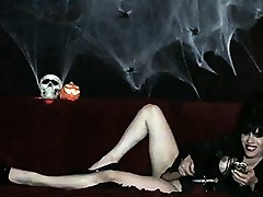Busty transsexual halloween queen Jesse jerking off