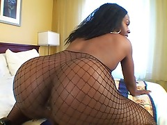 Dressed in fishnets this sexy black tgirl entices with her statuesque beauty