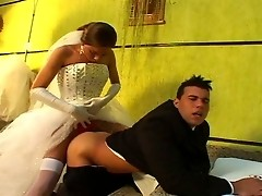 Hot shemale bride drilling the ass of her fiance right in their nuptial bed