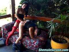 Stockinged shemale spreading guy�s cheeks with her mighty cock on the sofa