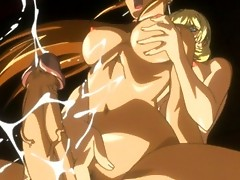 Anime chicks both got huge cocks and fuck eachother hardcore