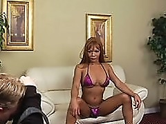 Heather Morehead jerks of on the couch