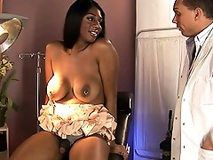 Naughty ebony TS Paris Pirelli seducing a doctor to bang her