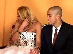 Lascivious shemale bride having rocky-hard pole for her fiance to suck on