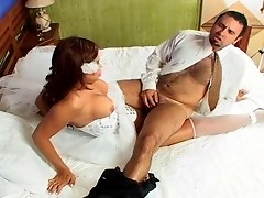 Booty-cramming frenzy with sex-crazy shemale bride and her kinky fiance