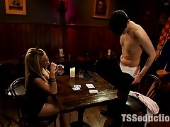 3 cum shot update! Ts_Paris seduces Vegas bartender w/a Poker lesson - she sucks off his huge cock, lets him fuck her ass, then reveals her own dick!