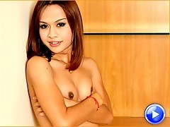 Aun is a horny ladyboy from Bangkok. She has small, hormone tits with dark round nipples. She has a playful personality