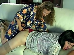 Sex-starving chick seducing a sissy guy into strap-on oral and butt play