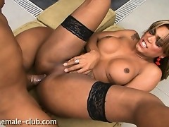 Dirty tgirl Mariana riding hard on Yago's stiff fat dick