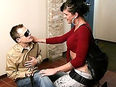 Naughty Morgan Bailey seducing a blind guy