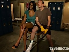 Ts Paris Pirelli delivers a 100% rock hard assfucking to a boxer she seduces in a locker room Her dick is thick, his ass is tight, the cum shots HUGE