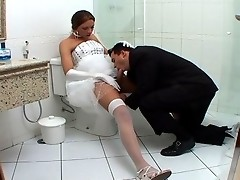 Spicy shemale bride and hot groom in wild ass-plundering action in bathroom