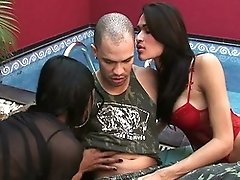 Two Hot Trannies Sucking A Guy