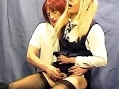 Candi gets her ass spanked and her Tgirl cock milked by teacher