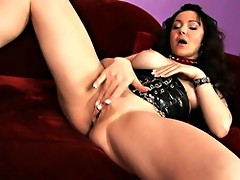 Classy sex change girl dildoing her new pussy with a transparent dildo