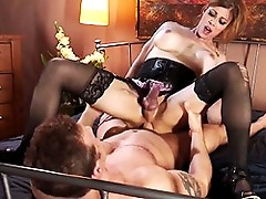 Transsexual MILF gets her asshole drilled