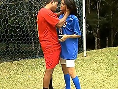 Hot TS riding a big fat cock on a football court